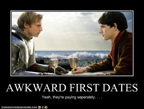 Awkward,bradley james,colin morgan,first dates,king arthur,merlin,paying,Staring