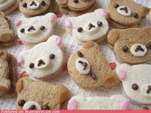 bears,bread,epicute,face,Rilakkuma,sandwiches
