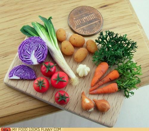 cutting board,impressive,miniature,penny,tiny,vegetables