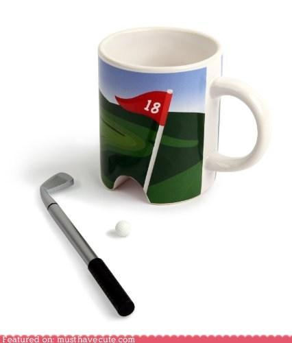 ball,ceramic,coffee,cup,golf,hole,miniature,mug,putter