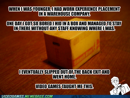 IRL,life lesson,metal gear,snake,true story,video games,warehouse