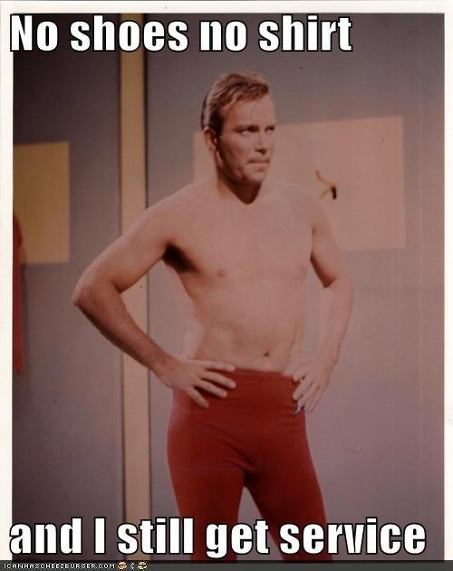 Badass,Captain Kirk,hot,no shirt,no shoes,service,Shatnerday,Star Trek,William Shatner