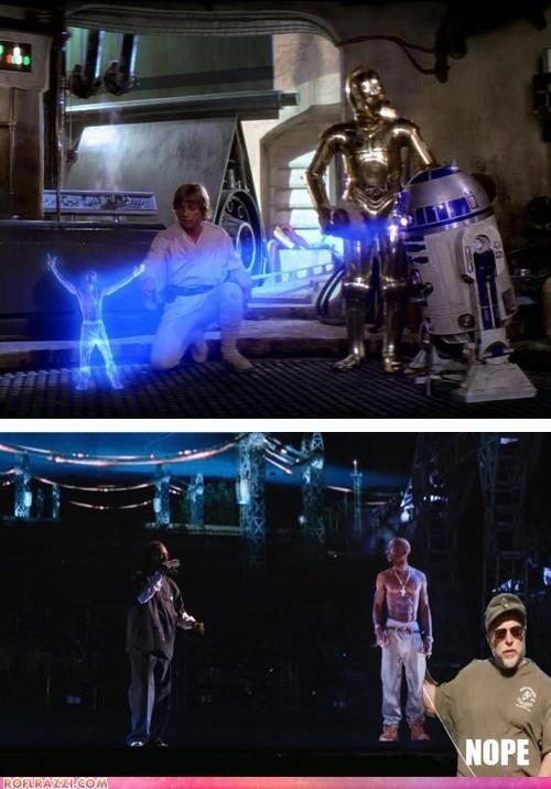 Chuck Testa,hologram,luke skywalker,Mark Hamill,nope,r2d2,snoop dogg,star wars,tupac shakur