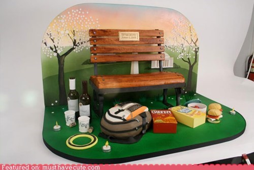 cake,date,edible,park,park bench,tableau,wedding