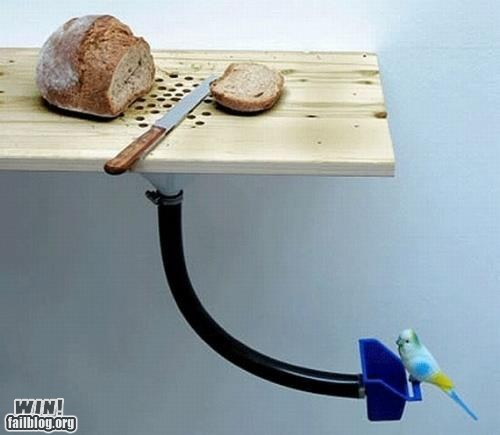 bird feeder,bread,cutting board,design