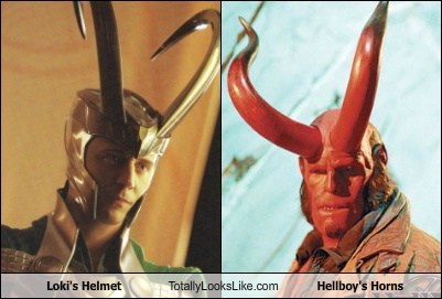 Loki's Helmet Totally Looks Like Hellboy's Horns