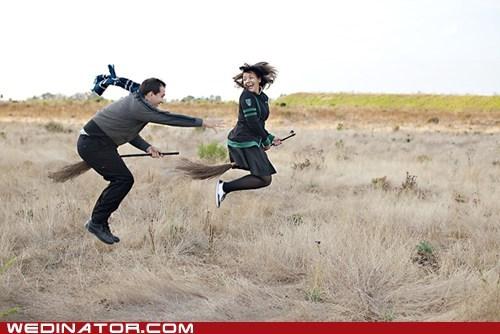 engagement photos,funny wedding photos,Harry Potter,quidditch