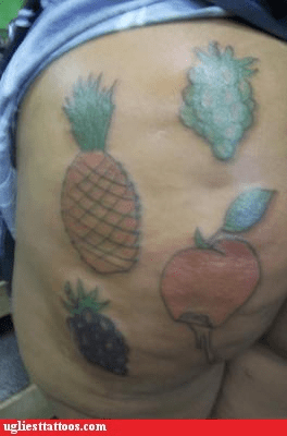 apple,butt tattoo,fruit,grapes,pineapple