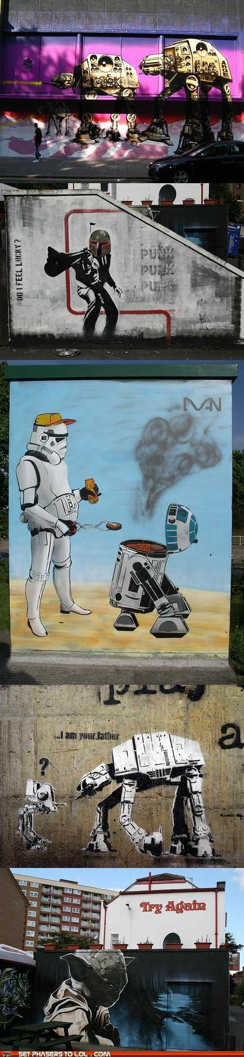 art,at at,boba fett,darth vader,Father,graffiti,star wars,Street Art