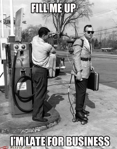 1950s,business,gas prices,gas station,late,meeting,old times