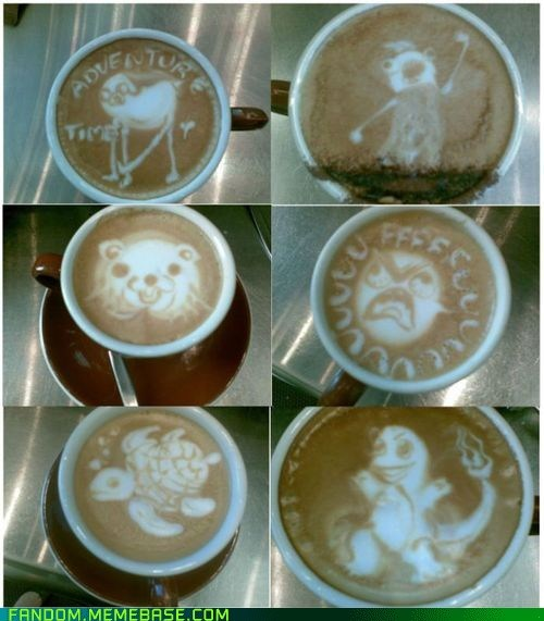 adventure time,coffee,coffee art,FanArt,Memes,Pokémon