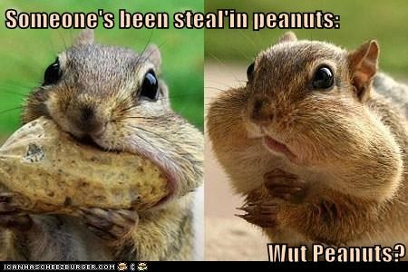 Someone's been steal'in peanuts:  Wut Peanuts?