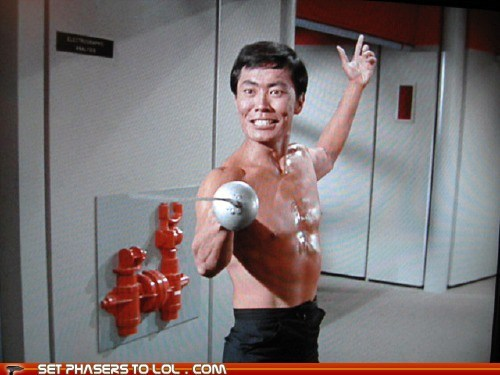 Fencing,george takei,happy birthday,shirtless men,Star Trek,sword fighting