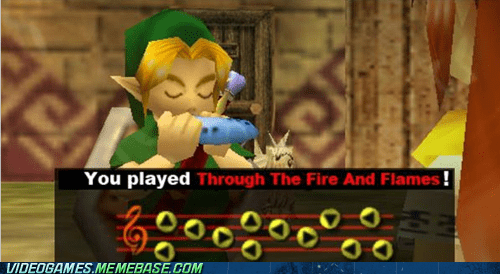 crossover,Guitar Hero,ocarina of time,through the fire and flam,through the fire and flames,zelda