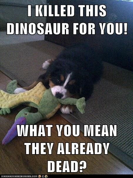 I KILLED THIS DINOSAUR FOR YOU!  WHAT YOU MEAN THEY ALREADY DEAD?