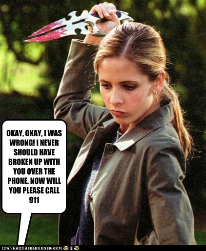 Blood,break up,Buffy,Buffy the Vampire Slayer,call 911 now,Sarah Michelle Gellar,stab,wrong