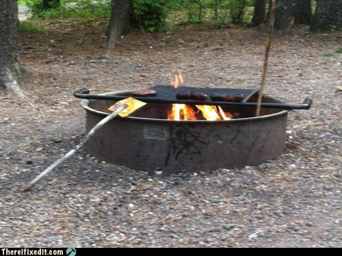 barbecue,bbq,beercan,camp fire,grill,spatula,stick,woods