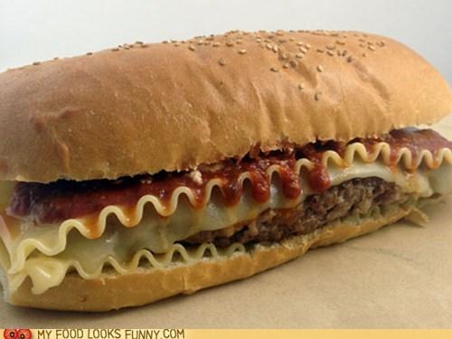 bun,burger,carbs,lasagna,meat,pasta,patty,sauce
