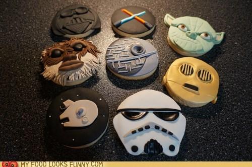 characters,cookies,Death Star,fondant,milennium falcon,star wars