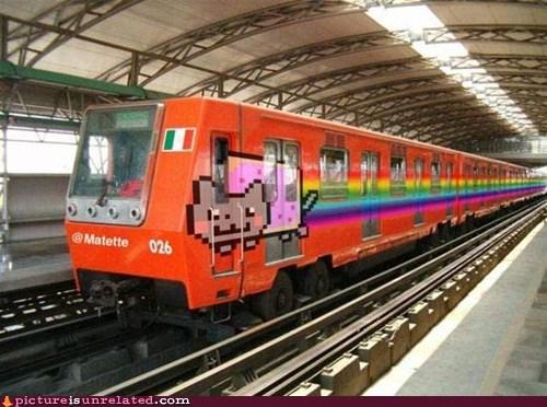 best of week,Nyan Cat,rainbow,train,wtf