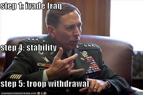 step 1: ivade Iraq step 4: stability step 5: troop withdrawal