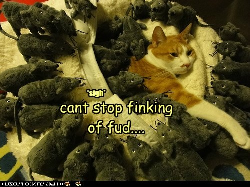 food,mouse,pile,sigh,surrounded,think,toy