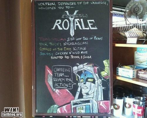 chalk sign,coffee,coffee shop,nerdgasm,sign,voltron