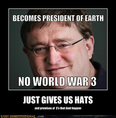 gabe newell,half life,hats,hilarious,president
