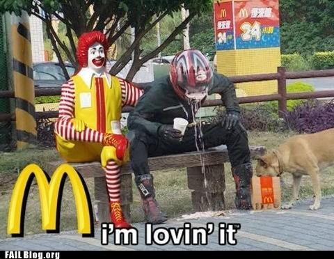 dogs,McDonald's,motorcycle helmet,puke,Ronald McDonald