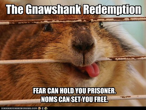 cage,chewing,fear,gopher,movies,noms,prisoner,shawshank redemption