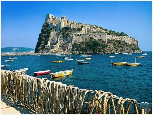 castle,island,Italy,ocean