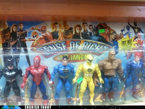 batman,power rangers,sense of right,Spider-Man,superman,the fantastic four,The Thing