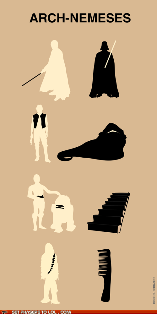 best of the week,c3p0,chewbacca,comb,comic,darth vader,enemies,Han Solo,jabba the hutt,luke skywalker,Nemesis,r2d2,silhouette,stairs