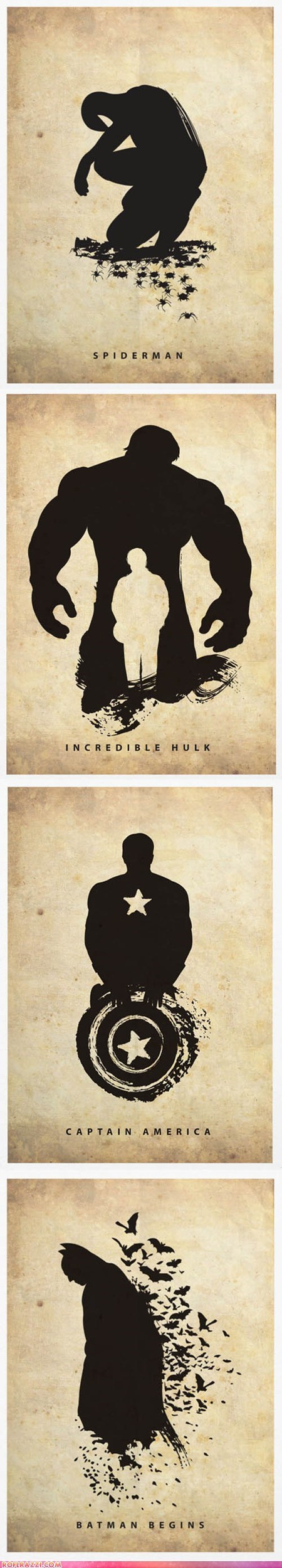 Creatively Silhouetted Posters of Superheroes