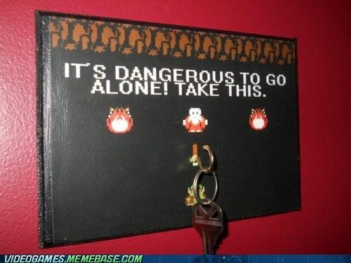 dangerous to go alone,IRL,keys,meme,zelda