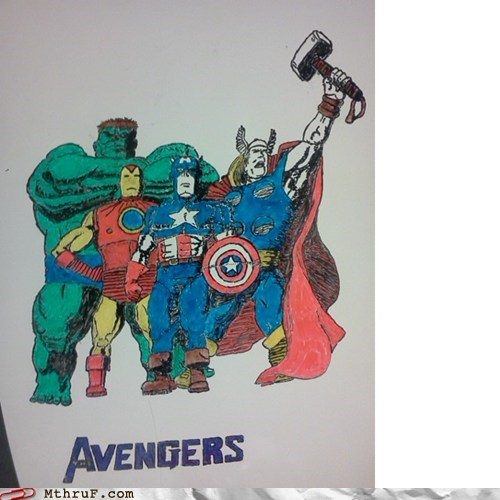 captain america,hulk,iron man,Joss Whedon,The Avengers,Thor,whiteboard,whiteboard art