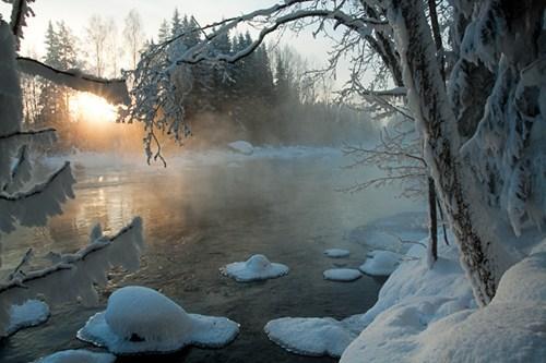 Finland,ice,lake,snow,sunrise