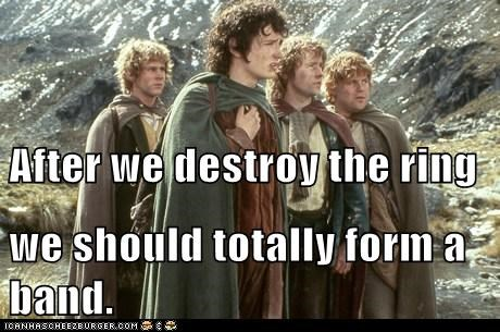 band,billy boyd,destry,dominic monaghan,elijah wood,Frodo Baggins,good name,Lord of The Ring,Lord of the Rings,Merry brandybuck,pippin took,sam gamgee,sean astin,the one ring