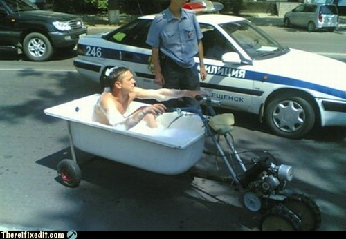 bath,bathtub,g rated,Hall of Fame,motorcycle,officer,police,problem officer,there I fixed it