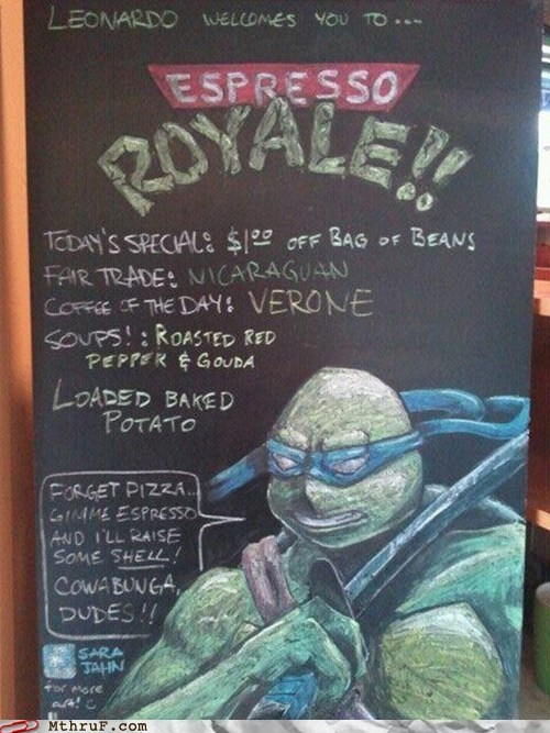 coffee house,coffee shop,espresso,espresso royale,espresso stand,leonardo,teenage mutant ninja turtles,TMNT