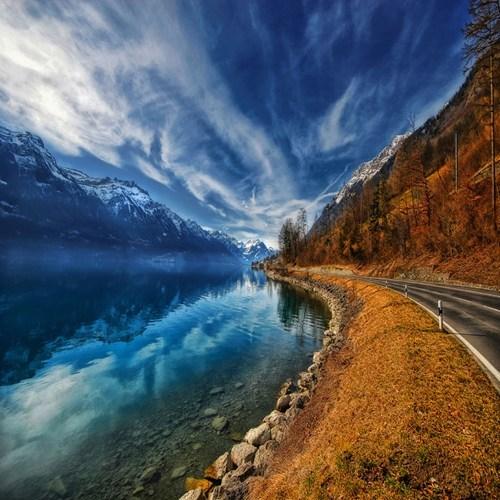 Hall of Fame,lake,mountain,road,Switzerland