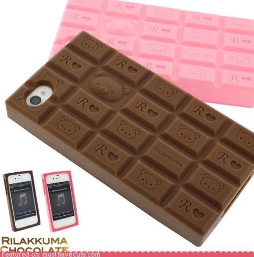 candy bar,case,chocolate,iphone,phone,Rilakkuma