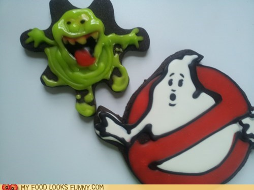 cookies,Ghostbusters,icing,logo,slimer,sweets