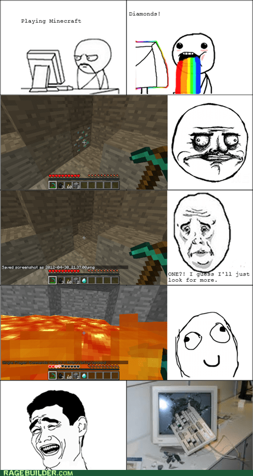 computer,diamonds,lava,minecraft,one more block,Rage Comics