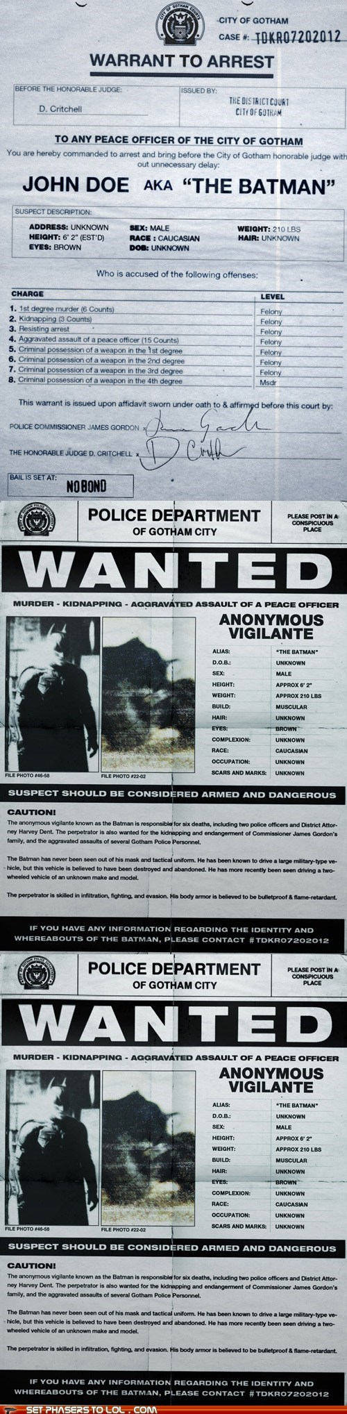 "Batman's Arrest Warrant from ""The Dark Knight Rises"""