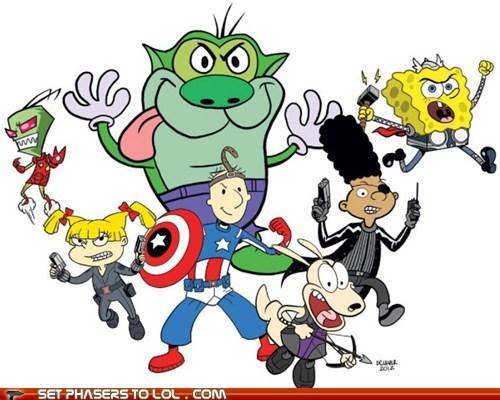 angelica pickles,avengers,captain america,doug,gerald,hey arnold,hulk,Invader Zim,iron man,Nicktoons,quail man,rockos-modern-life,rugrats,SpongeBob SquarePants,stimpy,superheroes