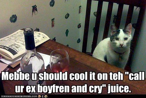 "Mebbe u should cool it on teh ""call ur ex boyfren and cry"" juice."