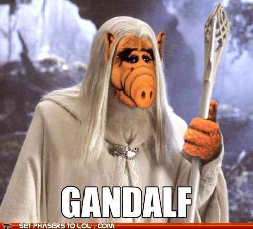 1980s,Alf,alien,Cats,gandalf,gandalf the white,Lord of the Rings,puns,puppet
