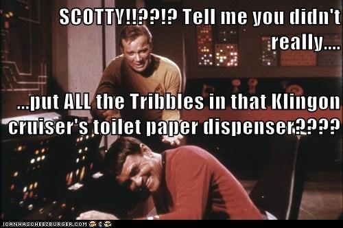Captain Kirk,james doohan,klingons,laughing,prank,scotty,Shatnerday,Star Trek,toilet paper,tribbles,William Shatner