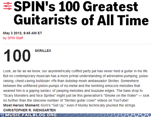 Music FAILS: Spin Names Skrillex the 100th Greatest Guitarist of All Time
